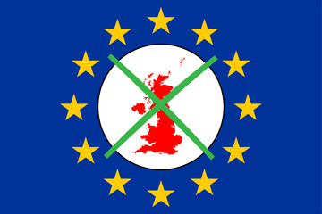Brexit Grossbritannien mit Wahlkreuz und Europakarte