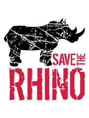 risse kratzer text save the rhino silhouette retten überleben aussterben bedroht dickhäuter nashorn horn einhorn comic cartoon clipart logo design