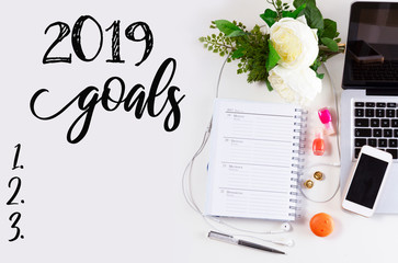Top view 2019 goals list with