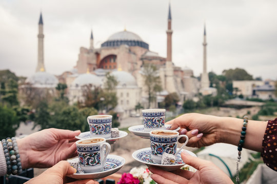 Turkish coffee withHagia Sophia inbackground, Istanbul, Turkey