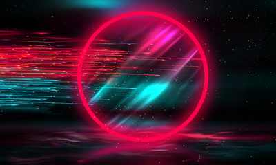 Abstract empty background with neon circle and sparks. Dark background of the scene with bright sparks, rays