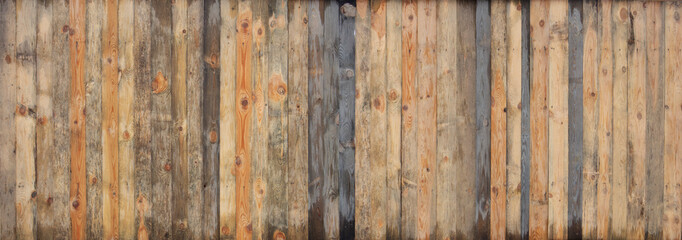 Poster Wood Brown wood colored plank wall texture background