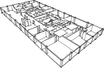 hand drawn architectural sketch of a typical floor in modern office building