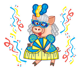 Cute piglet is dancing in carnival mask and beautiful blue gown. Funny holiday illustration.