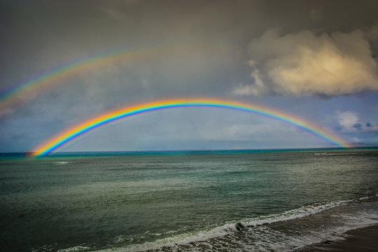 Hawaiian Rainbow over Kahana Beach in Maui, Hawaii