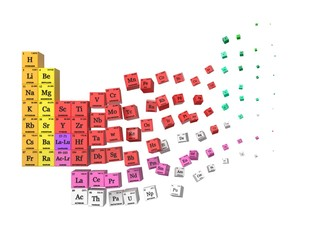 dissolving periodic table concept. cubes colored by element groups. 3d illustration