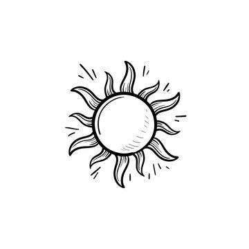 Shining sun hand drawn outline doodle icon. Summer weather and sunlight, heat and sunshine concept. Vector sketch illustration for print, web, mobile and infographics on white background.