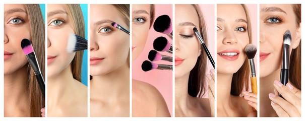 Set with beautiful woman applying decorative cosmetics, closeup. Professional makeup artist