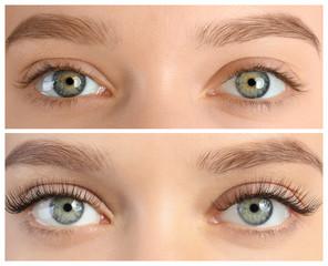 Fototapeta premium Młoda kobieta przed i po procedury przedłużania rzęs, zbliżenie