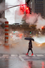 Foto auf AluDibond New York TAXI A woman with an umbrella and red high heels shoes is crossing the 42nd street in Manhattan. Taxi and steam coming out from from the manholes in the background. New York City, Usa.