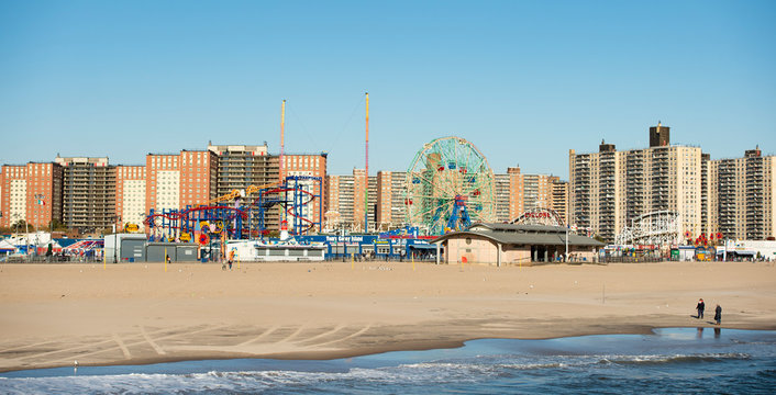View of the famous Coney Island amusement park. Coney Island is a peninsular residential neighborhood, beach, and leisure/ entertainment destination of Long Island.
