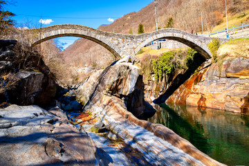 Ponte dei Salti; mediaeval double-arched bridge in Lavertezzo, Ticino