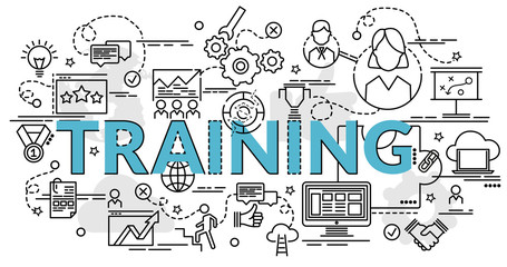 Flat colorful design concept for Training. Infographic idea of making creative products. Template for website banner, flyer and poster..