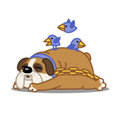 A Cartoon Vector Image Of A Sleeping Bulldog With Birds Flying Over