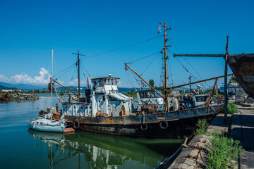 Boats and small ships in harbor