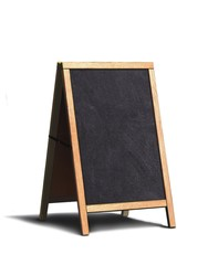 Sidewalk menu board on white background