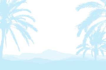 Time to Travel. Banner with silhouettes of tropical palm trees on a white background for tourism.