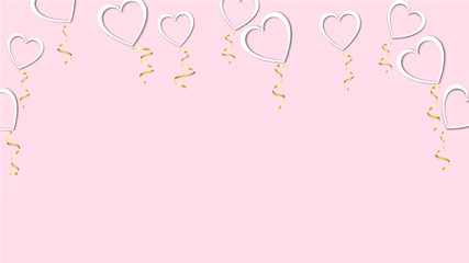 Beautiful abstract texture of white balloons in the shape of hearts with shadows and a golden ribbon for Happy Saint Valentine's Day on a pink background. Vector illustration. Concept: love