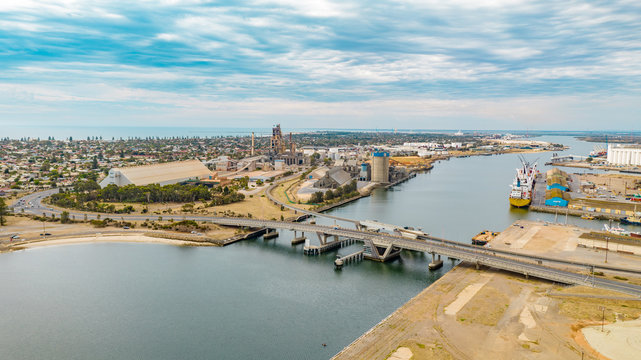 Drone view of Port Adelaide, South Australia