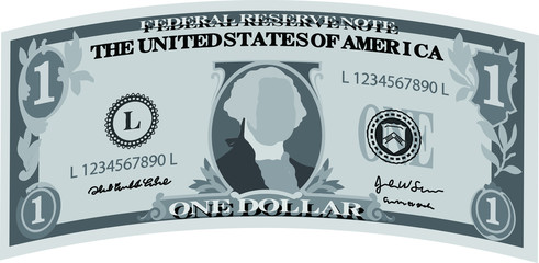 Monochrome Deformed 1 US dollar banknote