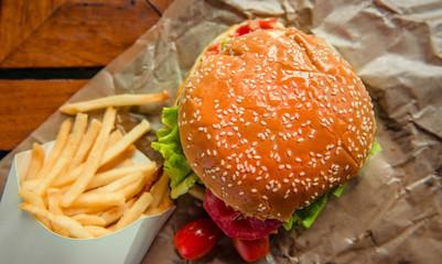 Hamburger pork and French fries.