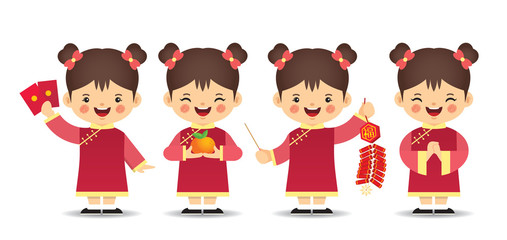 Set of cute cartoon chinese girl in different pose isolated on white background. Chinese new year character in flat vector design.