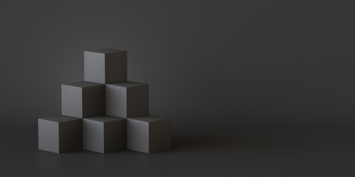 Black cube boxes with dark wall background. 3D rendering.