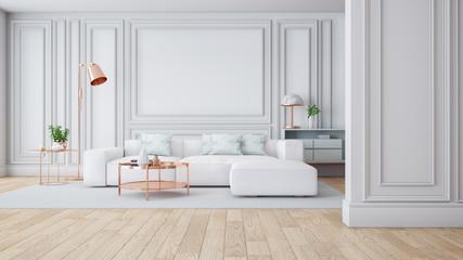Fototapeta Luxury Modern white living room interior,3drender obraz
