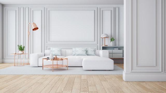 Luxury Modern white living room interior,3drender