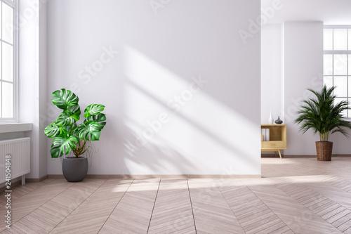 Modern mid century and minimalist interior of living room ...