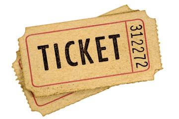 Old vintage torn cinema tickets