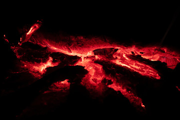Close up image of coals fire at night