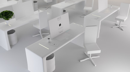 white desk with flat computer white chair. modern office 3d-illustration
