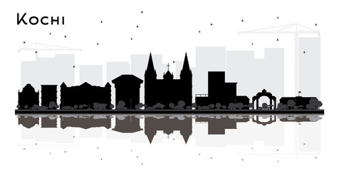 Kochi India City Skyline Silhouette with Black Buildings and Reflections Isolated on White.