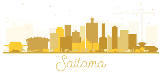 Saitama Japan City Skyline Silhouette with Golden Buildings Isolated on White.