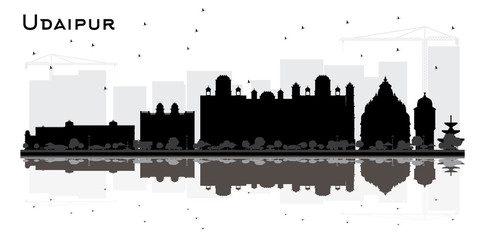 Udaipur India City Skyline Silhouette with BlackBuildings and Reflections Isolated on White.