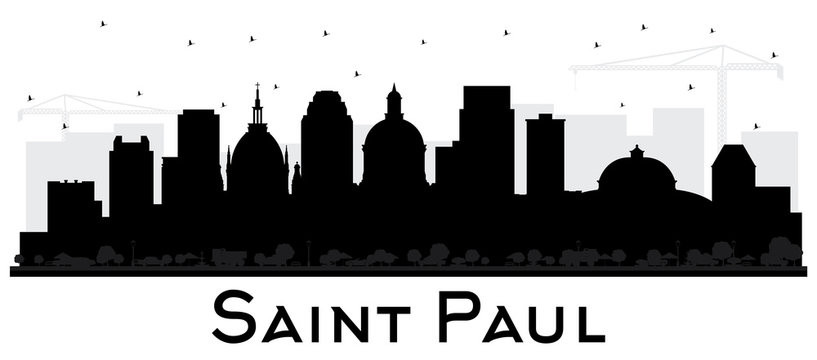 Saint Paul Minnesota City Skyline Silhouette with Black Buildings Isolated on White.
