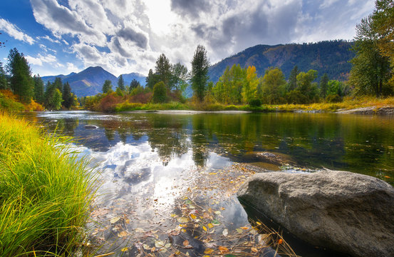 The Fall Scene Around Leavenworth in Washington