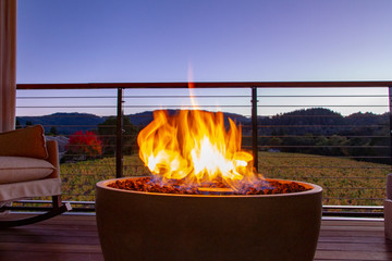 Napa Valley Fire Pit Overlooking Vineyards