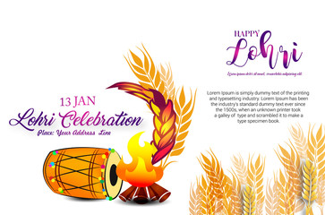Lohri celebration with dhol and bonfire with Crop on white background with typography.