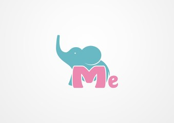 Elephant baby with letter Me