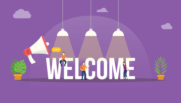 welcome big word text with team people around with big lamp on top shine