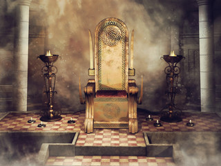 Fantasy Celtic throne with burners and candles. 3D render. Wall mural
