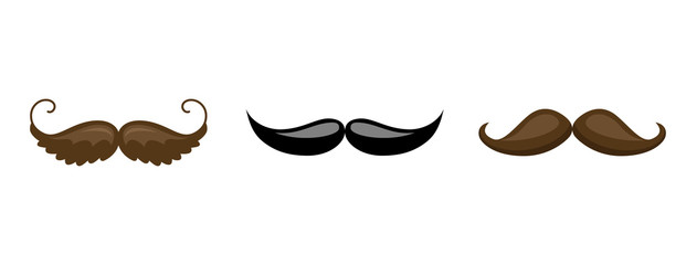 Mustache collection. Black silhouette of the mustache set isolated on white. Vintage engraving stylized drawing. Vector illustration - Vector.