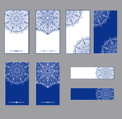 Oriental round patterns in white and blue colors on postcards. A set of cards. Vector.