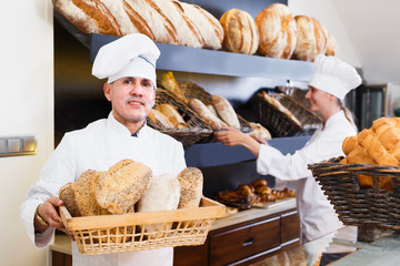 Bakers are with tasty and fresh bread products