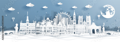 Fototapete Panorama postcard and travel poster of world famous landmarks of Belgium in paper cut style vector illustration
