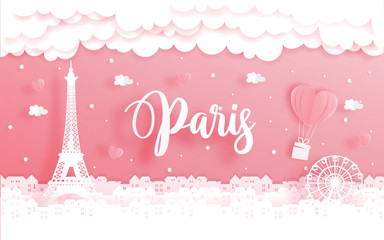 Fototapete - Honeymoon trip and Valentine's day concept with travel to Paris, France and world famous landmark in paper cut style vector illustration.