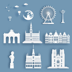 Wall Mural - Collection of Belgium famous landmarks in paper cut style vector illustration.
