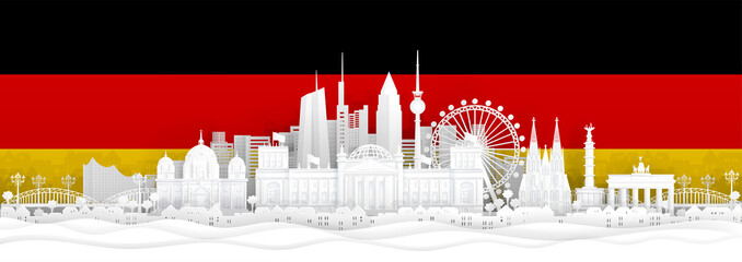 Fototapete - Germany flag and famous landmarks in paper cut style vector illustration.